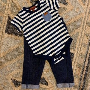7 for all Mankind striped onsie and pants